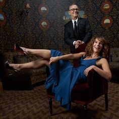 Father and daughter duo Joel Grey and Jennifer Grey having a laugh in the #TodayTix Tony Awards photo lounge at the O&M after-party at The Carlyle. Photo by Amy Arbus.