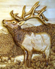 Elk relief carving