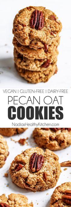 Vegan and Gluten-free Pecan Oat Cookies - Nadia's Healthy Kitchen Pecan Desserts, Pecan Recipes, Sweet Recipes, Gluten Free Baking, Gluten Free Desserts, Dessert Recipes, Paleo Dessert, Healthy Oat Cookies, Vegan Oat Cookies