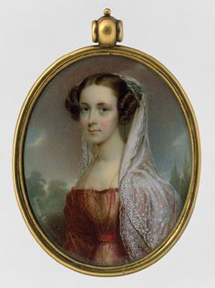 Henry Inman (1801-1846,American) and Thomas Seir Cummings (1804-1894,American) worked together on this miniature portrait of a woman in 1827. They were two of the best portrait miniature painters in America.