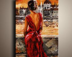 Bride Female Figure PAINTING Palette Knife Contemporary Fine Art Romantic Painting Lady in Red by EMERICO TOTH