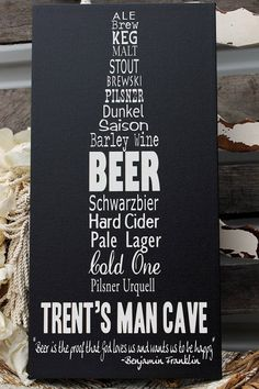 Personalized Man Cave Sign on Canvas, Beer Sign, Bar Sign, Pub Sign, Vintage Bar Sign, Rustic Sign, Wedding Gift, Grooms Gift 20x60 via Etsy