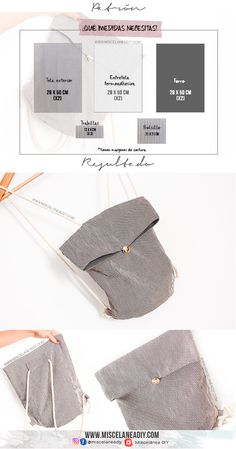 Medidas para esta mochila de tela con un vídeo tutorial con el paso a paso en el blog Types Of Purses, Types Of Handbags, Sewing Tutorials, Sewing Patterns, Couture Cuir, Diy Bags Purses, Small Sewing Projects, Work Bags, Craft Bags