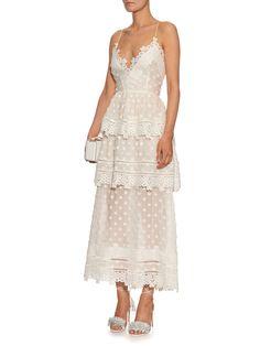 Tiered lace midi dress | Self-portrait | MATCHESFASHION.COM