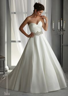 pics of satin wedding dress