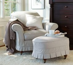 Pinstripe chair and ottoman slipcover Armchair Slipcover, Upholstered Furniture, Chair And Ottoman, Slipcovers, Cozy Chair, Oval Ottoman, Comfy Armchair, Big Chair, Ottoman Cover