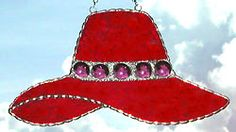 """Red Hat Stained Glass Suncatcher with Glass Nuggets - 4 1/2"""" x 8"""" - $16.95  - Handcrafted Stained Glass Designs  - Handcrafted Stained Glass Designs  - Glass Suncatchers, Stained Glass Décor, Stained Glass Sun Catchers -  Stained Glass Design   * More at www.AccentOnGlass.com"""