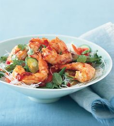 Asian Noodle Salad with Shrimp  These cold Vietnamese-style noodles are perfect for a warm night. The rice stick noodles, fish sauce, and chili-garlic sauce can be found in the Asian section of many supermarkets and at markets.