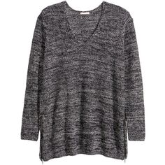H&M+ Jumper with zips (150 BRL) ❤ liked on Polyvore featuring tops, sweaters, v-neck tops, black long sleeve top, long sleeve sweaters, black top and long sleeve tops