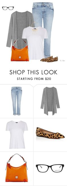 """""""Fall look idea"""" by ksims-1 ❤ liked on Polyvore featuring 7 For All Mankind, Topshop, Tory Burch, Dooney & Bourke, Michael Kors and Kenneth Jay Lane"""