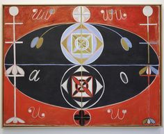 'The later 16 paintings of Evolution depict the division of light and dark, male and female, and while the title probably relates to an esoteric cosmology, it also evokes one of the most scientific, religious and philosophical debates of the period.' From Painting the Unseen Daniel Birnbaum & Emma Enderby, Hilma af Klint: Painting the Unseen published by Serpentine Galleries and Koenig Books. Evolution, No. 16, Group VI, 1908; Installation view; Photograph © 2016 Jerry Hardman-Jones Hilma…