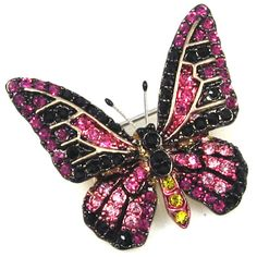 Swarovski Crystal Jet and Fuchsia Butterfly Brooch
