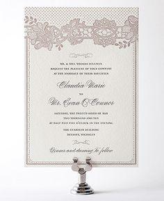 Vintage Lace Letterpress Wedding Invitation