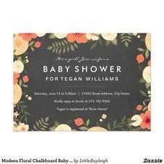 Modern Floral Chalkboard Baby Shower Invitation