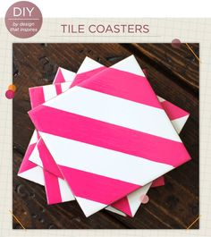 """Nothing screams """"adulthood"""" like a stack of stylish coasters at the ready to put under your friends' PBR cans. These DIY tile coasters will keep your drink budget and coffee table (if you even have one) intact. How To Make Coasters, Diy Coasters, Making Coasters, Homemade Coasters, Photo Coasters, Personalized Coasters, Ceramic Coasters, Custom Coasters, Home Design"""