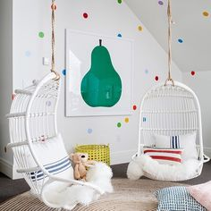 Chairs for A Girls Bedroom. Chairs for A Girls Bedroom. Rattan Hanging Chair for Reading Corner Girls Bedroom Playroom Design, Playroom Decor, Kids Room Design, Kids Decor, Home Decor, Playroom Ideas, Attic Playroom, Colorful Playroom, Children Playroom