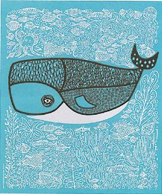 Whale Illustration Surrounded by Doodles