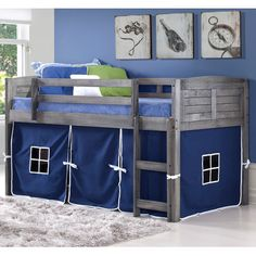 Donco Kids Twin Louver Low Loft Bed Grey The Donco Kids Twin Louver Low Loft comes in a deluxe Antique Grey color. This bed is made with the finest quality solid pine construction, adding Kid Beds, Bunk Beds, Design Living Room, Kids Bedroom Furniture, Children Furniture, Bedroom Ideas, New Room, Color Blue, Teen Kids