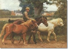 Alfred J Munnings - Alfred Munnings - Leading Ponies Along a Road Painting