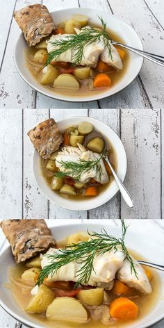 Greek fish stew with cod loins, carrots, new potatoes, white wine, fresh dill and parsley. Inspired by an original greek recipe for κακαβιά, greek fish soup, traditionally made with the catch of the day. #soup #cod #kakavia