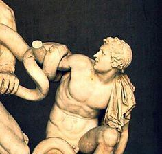 Detalle de 'Laocoonte y sus hijos', obra escultórica de la Escuela de Rodas, época Helenística.
