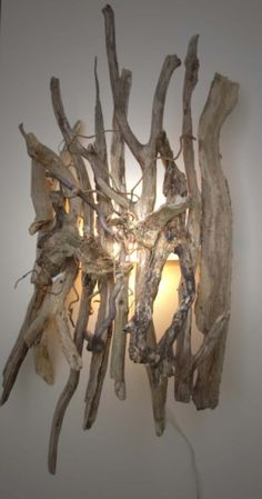 lamp with driftwood