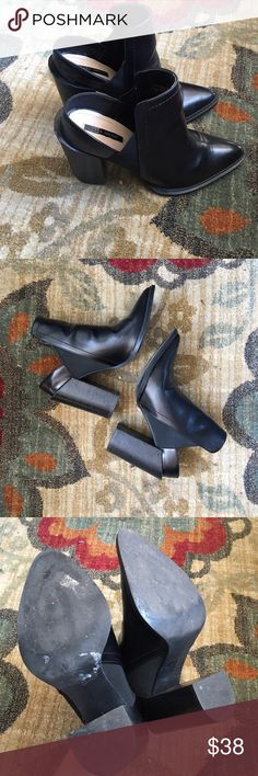 """Black faux leather cutout heel ankle boots Brand: Zara. Size 39, fits like an 8. Cute chunky 4"""" heel with a unique heel cutout. NO SWAPS. #zara #black #faux #leather #cutout #heel #chunky #ankle #boots #shoes Zara Shoes Ankle Boots & Booties"""