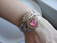 Pastel pink heart bracelet Heart and crown bracelet by 2007musarra, $35.00 Heart Bracelet, Bracelets, Heart Crown, Vintage Bracelet, Altered Couture, Vintage Brooches, Pastel Pink, Headbands, Gemstone Rings