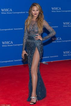 Curves ahead! Speaking to Billboard magazine, Chrissy confessed that she often suffers wardrobe malfunctions because her curves are tough to contain; seen above she posed at the White House Correspondents' Dinner last month