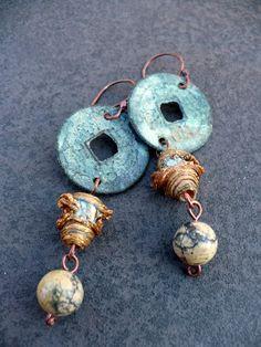 RISINGhandmade mixed media earrings by livewirejewelrysb on Etsy