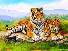 Собирать пазлы онлайн - Пара тигров