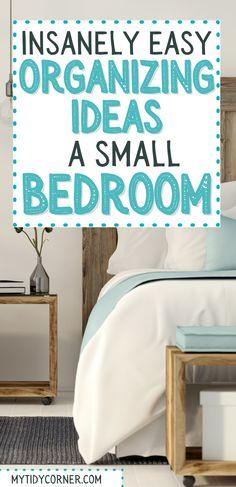 Organization For Small Bedroom, Diy Storage Ideas For Small Bedrooms, Small Bedroom Storage, Bed Storage, Storage Spaces, Organization Hacks, Organization Ideas, Declutter, Organize