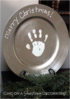 Handprint Christmas Plate Keepsake Craft for Kids