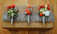 Natural Boutonnieres - Wedding - Groom - Groomsmen - Best Man - Father of the Bride - Father of the Groom. $15.00, via Etsy.