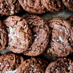Chocolate Chunk–Pumpkin Seed Cookies For the ideal chewy brownie-ish texture, take care not to overbake these spiced cookies.