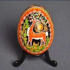 Deer on Pysanka egg by Anna Perun.   Pysanky