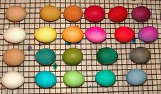 Brown eggs versus White eggs.  I have to try this!  I didn't know brown eggs would take to dye so well.  I love the reds and some of the bluish-greens - not sure the yellow results were that great on brown eggs though.