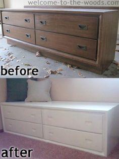 Dresser to Bench -Makeover