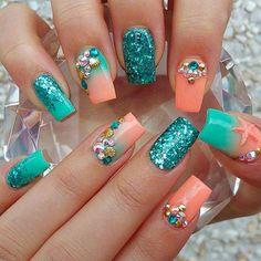 coral nails, cute, fashion, girly, glitter, glitter nails, starfish,