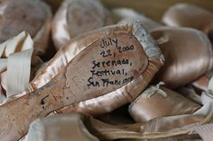 Write the date & ballet studio on the back of one shoe