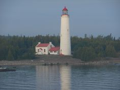 Lighthouse seen from the Chi-Cheeman ferry on the way to Manitoulin Island, Ontario Manitoulin Island, Motorcycle Travel, O Canada, Lighthouses, Ontario, Trips, To Go, Places, Viajes