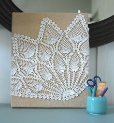 burlap-covered  canvas & lace wall art from the Nester via Incourage