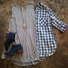 Plaid shirt blue navy white button up top fall Button up blouse size m. Can fit s as oversized. Pic 2 is actual item for sale Tops Button Down Shirts