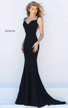 2016 Cutout Sherri Hill 50241 Black Beaded Sheer Long Slim Evening Gown #long prom dresses #evening gown #beads prom dresses