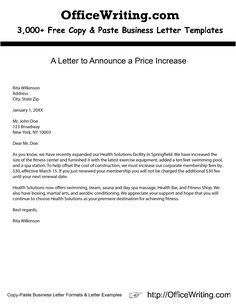 A Letter To Announce A Price Increase    We Have Over 3,000 Free Sample  Letters, Letter Templates And Letter Formats For Business And Personal At  ...