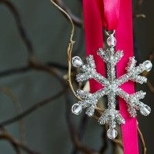 Silver Beaded Snowflake Tree Decoration