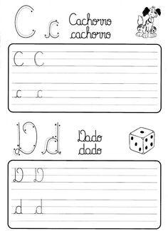 Atividade de caligrafia letras do alfabeto ilustrado - Como Fazer Literacy Worksheets, Math Literacy, Alphabet Activities, Preschool Activities, Dinosaurs Preschool, Christmas Math, Spanish Class, Cursive, Writing