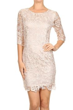 Hopeless Romantic Lace Shift Dress // Look stunning in this glam lace dress! Three-quarter sleeves and lined from top to hem. Sleeves are see-through. Dress is fitted with a little stretch. Small: Size 4 // Medium: Size 6 // Large: Size 8 // Bay Area Photographer: ChristianStudios.net // Model: Danielle // Bay Area Makeup/Hair: xiomarabeauty.com