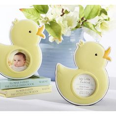 These adorable favors are sure to make a big splash on your shower tables! The My Little Duckling Photo Frame is constructed in the shape of a baby duck with a soft yellow finish and orange beak. Designed with a black back and stand, the resin frame is the perfect decoration at each place setting as well as a take-home gift. Tuck a sweet picture of your baby or even ultrasound into the 1.25 inch diameter window, or leave the included coordinating insert in that reads �My Little Duckling�…