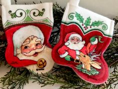 Vintage Felt Christmas Stocking by Rennoc, Santa Reindeer, Mini Stocking, Ornament, Gift Card Holder, Artist Signed, Circa 1980s.